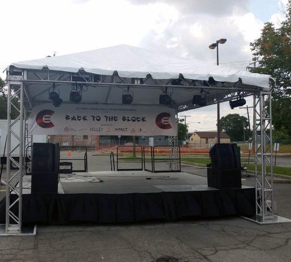 rent a stage and sound equipment for a summer benefit concert, fundraiser or block party in columbus ohio at apex event productions.