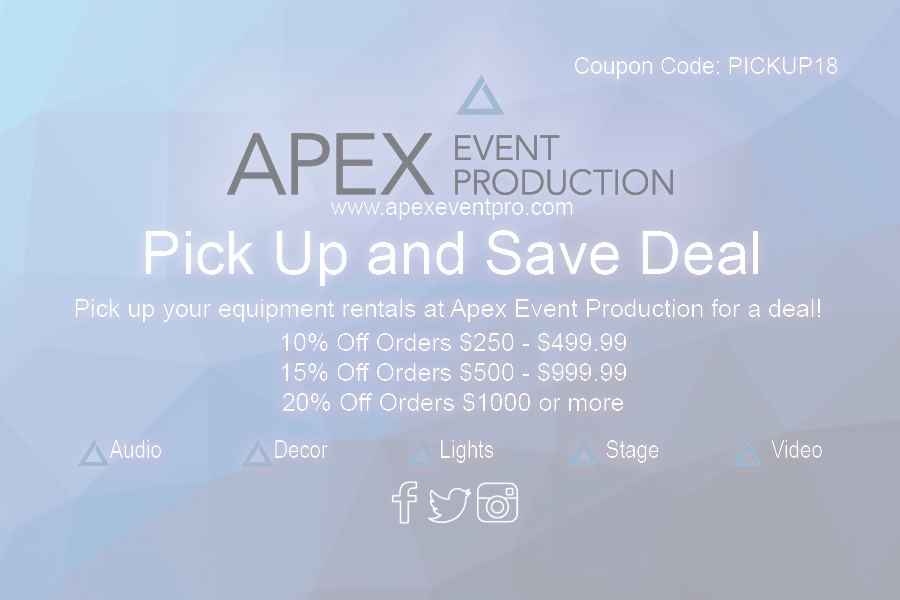 rent audio, video, lighting and stage equipment from apex event pro in columbus ohio